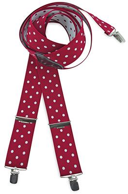 Bretels rood met witte polkadots