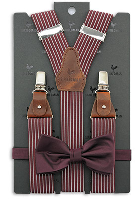 Sir Redman bretels combi pack Striped Gent bordeaux
