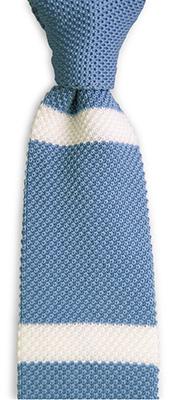 Stropdas gebreid lichtblauw streep